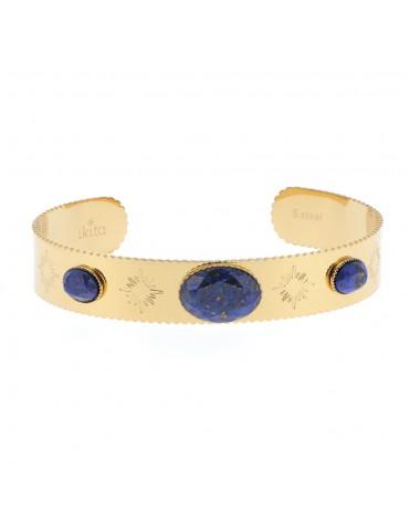 Bracelet jonc acier inoxydale et pierres véritable