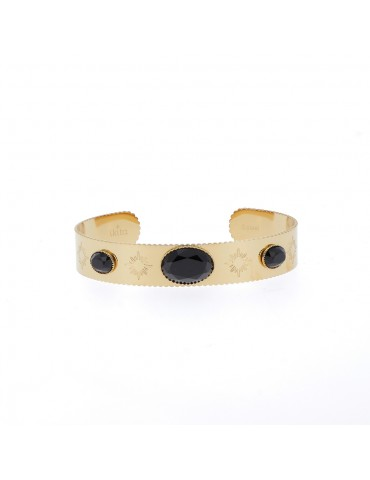 Bracelet jonc acier inoxydale et pierres véritale