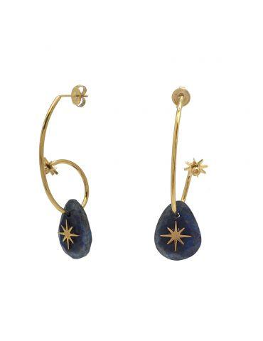 Boucles d'oreilles en acier inoxydale et pierres véritale